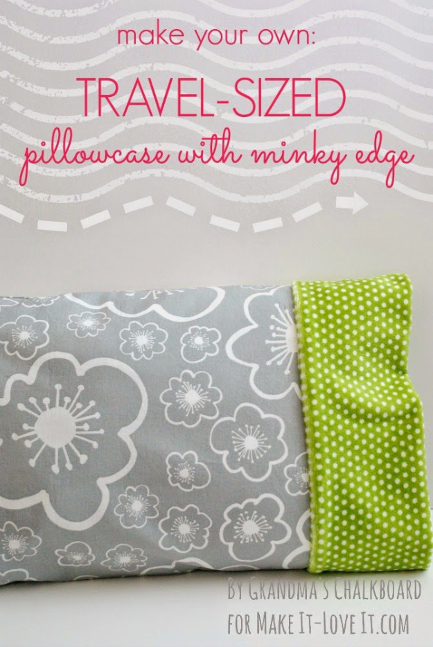 DIY Pillowcases - Travel Sized Pillowcase With Minky Edge - Easy Sewing Projects for Pillows - Bedroom and Home Decor Ideas - Sewing Patterns and Tutorials - No Sew Ideas - DIY Projects and Crafts for Women #sewing #diydecor #pillows