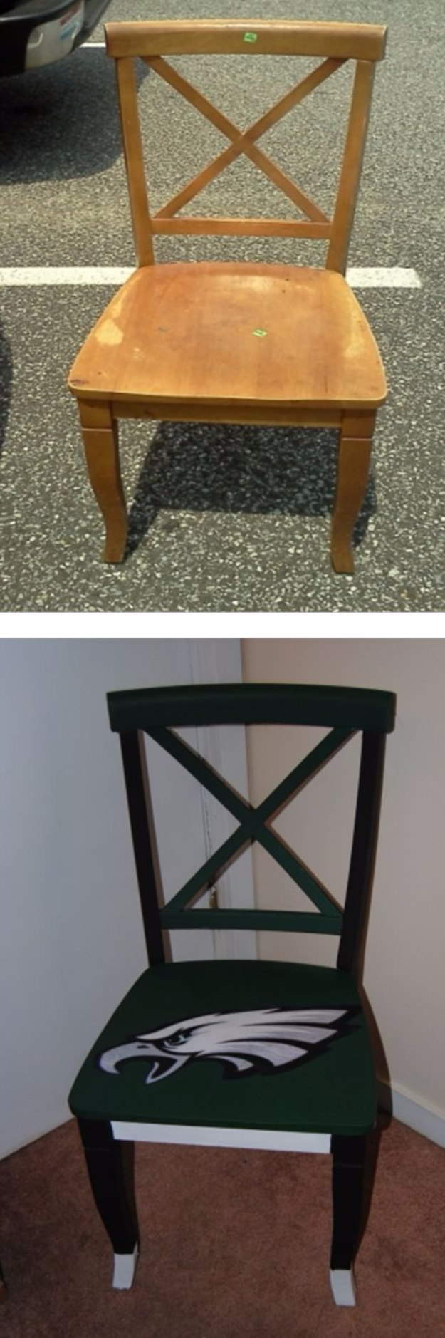 DIY Projects for the Sports Fan - Upcycled Hand Painted Decoupage Sports Lovers Chair - Crafts and DIY Ideas for Men - Football, Baseball, Basketball, Soccer and Golf - Wall Art, DIY Gifts, Easy Gift Ideas, Room and Home Decor #sports #diygifts #giftsformen
