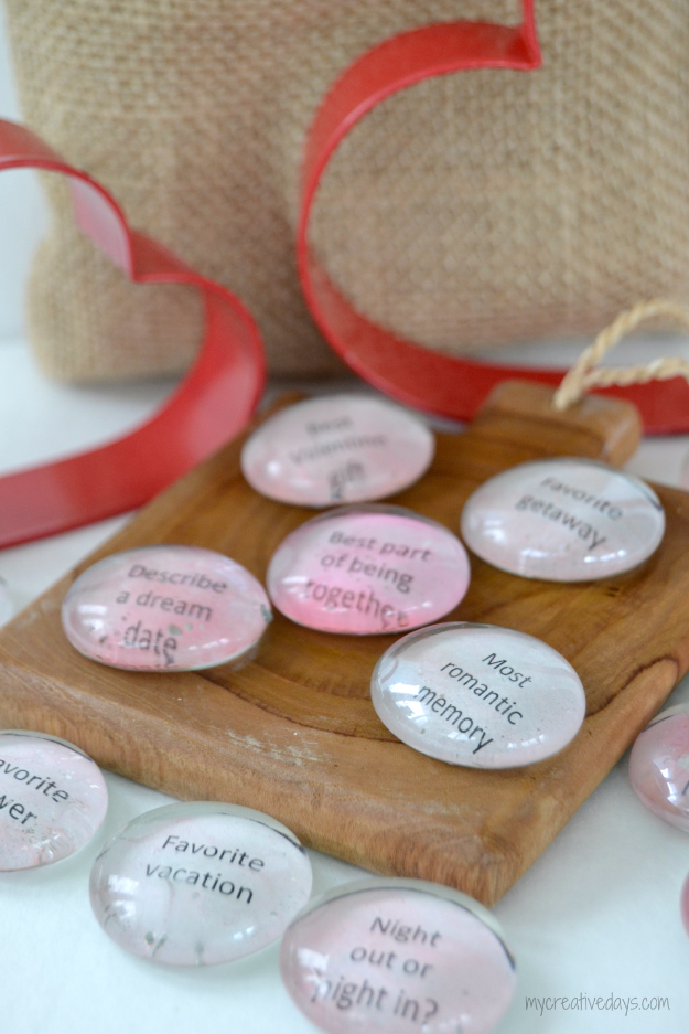 DIY Date Night Ideas - Valentine Conversation Stones - Creative Ways to Go On Inexpensive Dates - Creative Ways for Couples to Spend Time Together creative date nights diy idea