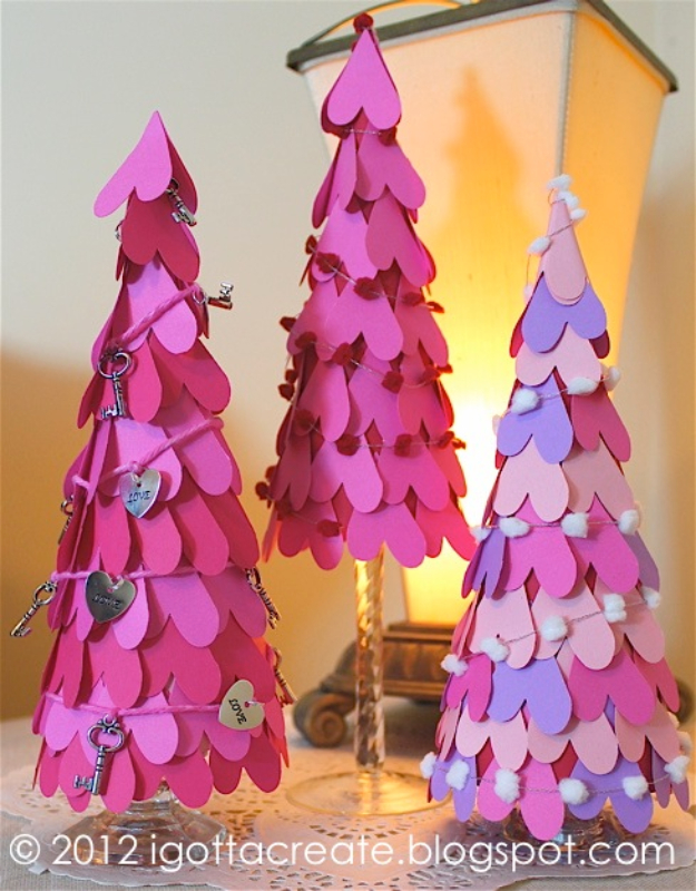 DIY Valentine Decor Ideas - Valentine Heart Cone Tree - Cute and Easy Home Decor Projects for Valentines Day Decorating - Best Homemade Valentine Decorations for Home, Tables and Party, Kids and Outdoor - Romantic Vintage Ideas - Cheap Dollar Store and Dollar Tree Crafts http://diyjoy.com/easy-valentine-decorations