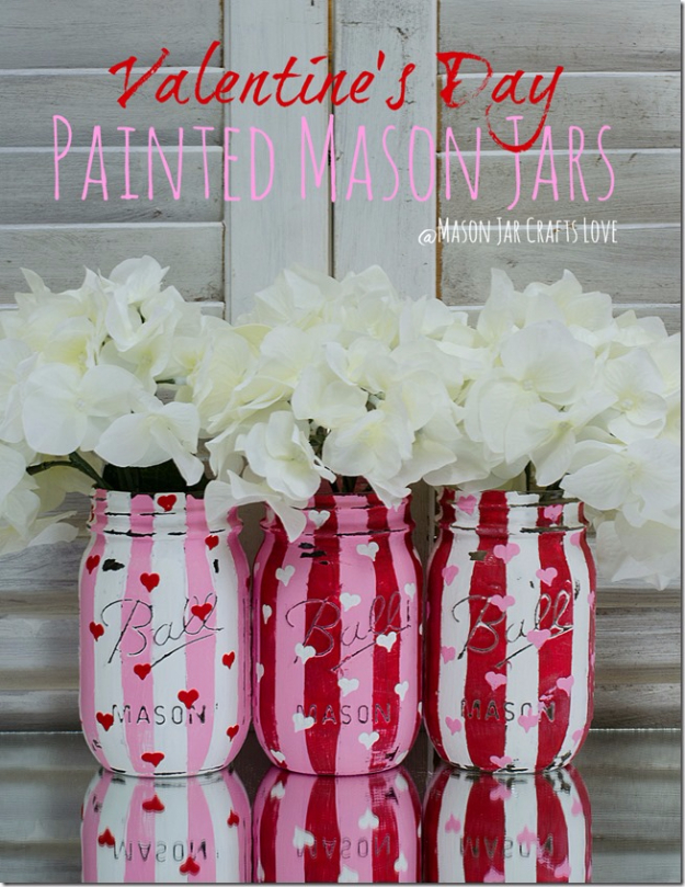 DIY Valentine Decor Ideas - Valentine Heart Jars - Cute and Easy Home Decor Projects for Valentines Day Decorating - Best Homemade Valentine Decorations for Home, Tables and Party, Kids and Outdoor - Romantic Vintage Ideas - Cheap Dollar Store and Dollar Tree Crafts