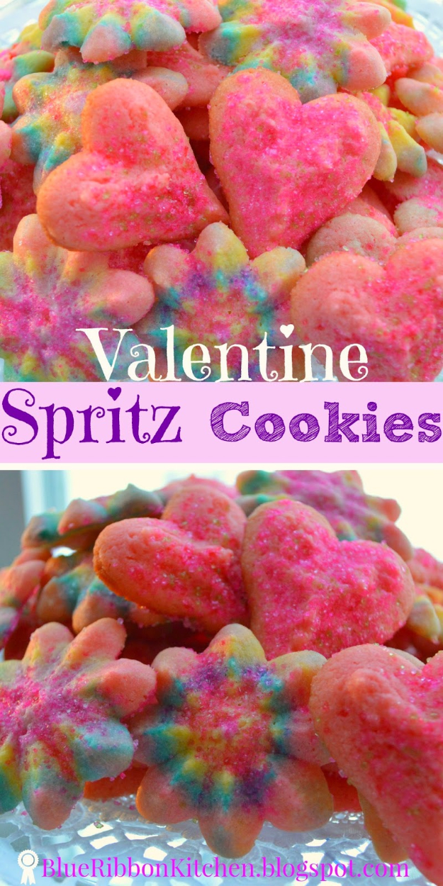 DIY Valentines Day Cookies - Valentine Spritz Cookies - Easy Cookie Recipes and Recipe Ideas for Valentines Day - Cute DIY Decorated Cookies for Kids, Homemade Box Cookies and Bouquet Ideas - Sugar Cookie Icing Tutorials With Step by Step Instructions - Quick, Cheap Valentine Gift Ideas for Him and Her http://diyjoy.com/diy-valentines-day-cookie-recipes