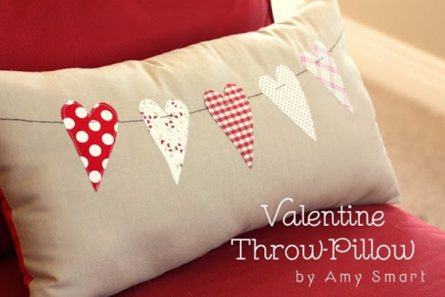 DIY Valentine Decor Ideas - Valentine Throw Pillow - Cute and Easy Home Decor Projects for Valentines Day Decorating - Best Homemade Valentine Decorations for Home, Tables and Party, Kids and Outdoor - Romantic Vintage Ideas - Cheap Dollar Store and Dollar Tree Crafts