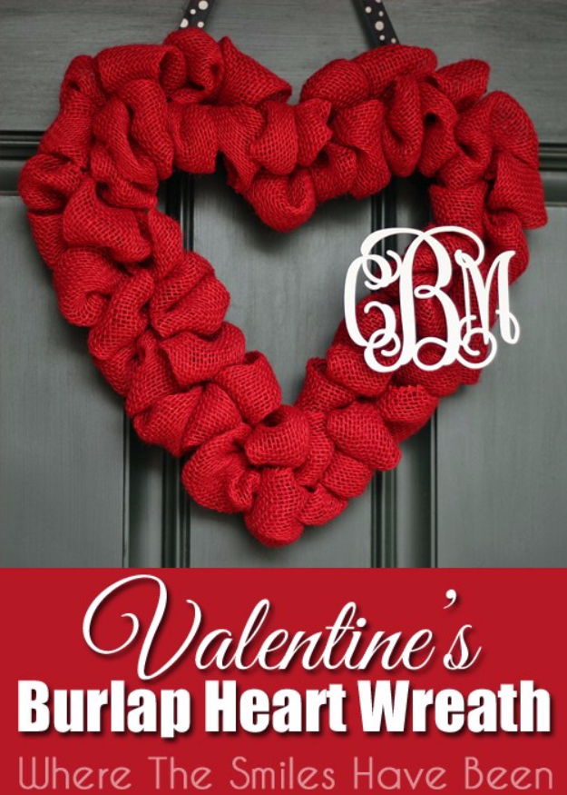 DIY Valentine Decor Ideas - Valentine's Burlap Heart Wreath - Cute and Easy Home Decor Projects for Valentines Day Decorating - Best Homemade Valentine Decorations for Home, Tables and Party, Kids and Outdoor - Romantic Vintage Ideas - Cheap Dollar Store and Dollar Tree Crafts http://diyjoy.com/easy-valentine-decorations
