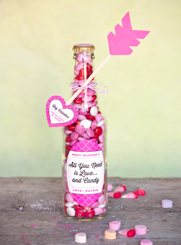 Best DIY Valentines Day Gifts - Valentines Candy Bottle - Cute Mason Jar Valentines Day Gifts and Crafts for Him and Her | Boyfriend, Girlfriend, Mom and Dad, Husband or Wife, Friends - Easy DIY Ideas for Valentines Day for Homemade Gift Giving and Room Decor | Creative Home Decor and Craft Projects for Teens, Teenagers, Kids and Adults