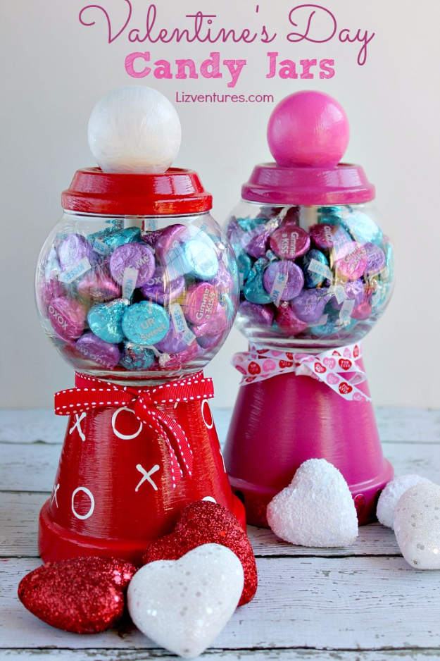 Best DIY Valentines Day Gifts - Valentines Day Candy Jars - Cute Mason Jar Valentines Day Gifts and Crafts for Him and Her | Boyfriend, Girlfriend, Mom and Dad, Husband or Wife, Friends - Easy DIY Ideas for Valentines Day for Homemade Gift Giving and Room Decor | Creative Home Decor and Craft Projects for Teens, Teenagers, Kids and Adults http://diyjoy.com/diy-valentines-day-gift-ideas