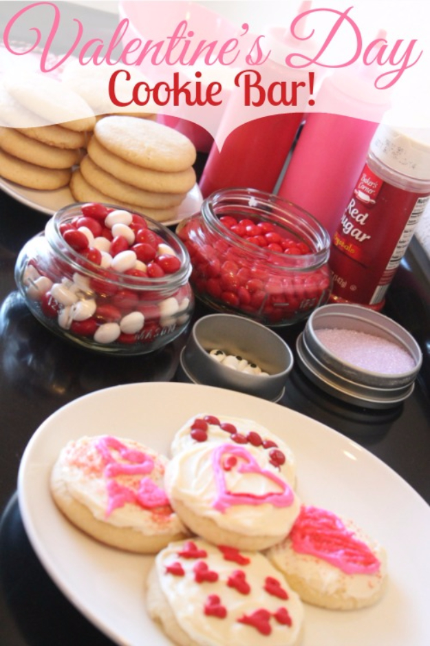 DIY Valentines Day Cookies - Valentine's Day Cookie Bar - Easy Cookie Recipes and Recipe Ideas for Valentines Day - Cute DIY Decorated Cookies for Kids, Homemade Box Cookies and Bouquet Ideas - Sugar Cookie Icing Tutorials With Step by Step Instructions - Quick, Cheap Valentine Gift Ideas for Him and Her http://diyjoy.com/diy-valentines-day-cookie-recipes