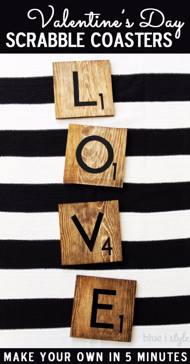 Best DIY Valentines Day Gifts - Valentines Day Scrabble Coasters - Cute Mason Jar Valentines Day Gifts and Crafts for Him and Her | Boyfriend, Girlfriend, Mom and Dad, Husband or Wife, Friends - Easy DIY Ideas for Valentines Day for Homemade Gift Giving and Room Decor | Creative Home Decor and Craft Projects for Teens, Teenagers, Kids and Adults http://diyjoy.com/diy-valentines-day-gift-ideas