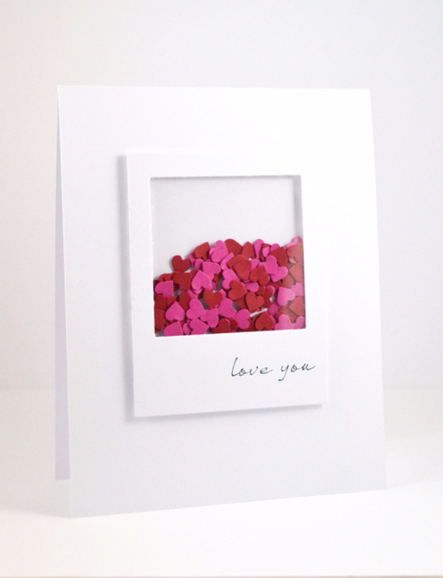 DIY Valentines Day Cards - Valentine's Shaker Card - Easy Handmade Cards for Him and Her, Kids, Freinds and Teens - Funny, Romantic, Printable Ideas for Making A Unique Homemade Valentine Card - Step by Step Tutorials and Instructions for Making Cute Valentine's Day Gifts #valentines