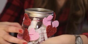 She Decorates A Mason Jar With Sparkling Hearts But What's Inside Is The Best Surprise Of All!