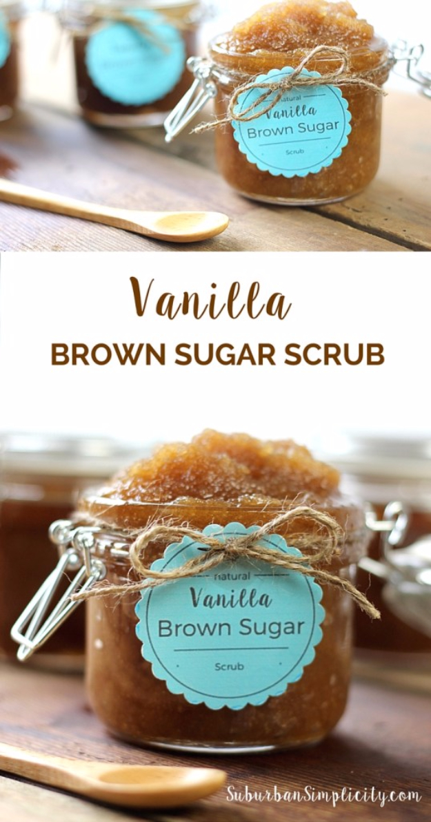 DIY Sugar Scrub Recipes - Vanilla Brown Sugar Scrub - Easy and Quick Beauty Products You Can Make at Home - Cool and Cheap DIY Gift Ideas for Homemade Presents Women, Girls and Teens Love - Natural Recipe Ideas for Making Sugar Scrub With Step by Step Tutorials