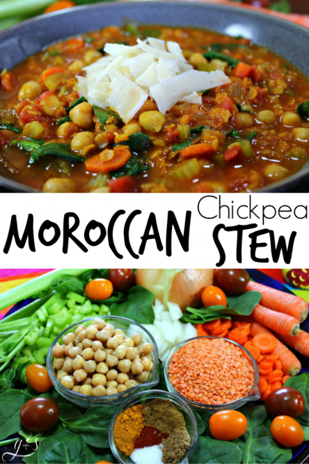 Quick and Healthy Dinner Recipes - Vegetarian Moroccan Chickpea Stew - Easy and Fast Recipe Ideas for Dinners at Home - Chicken, Beef, Ground Meat, Pasta and Vegetarian Options - Cheap Dinner Ideas for Family, for Two , for Last Minute Cooking #recipes #healthyrecipes