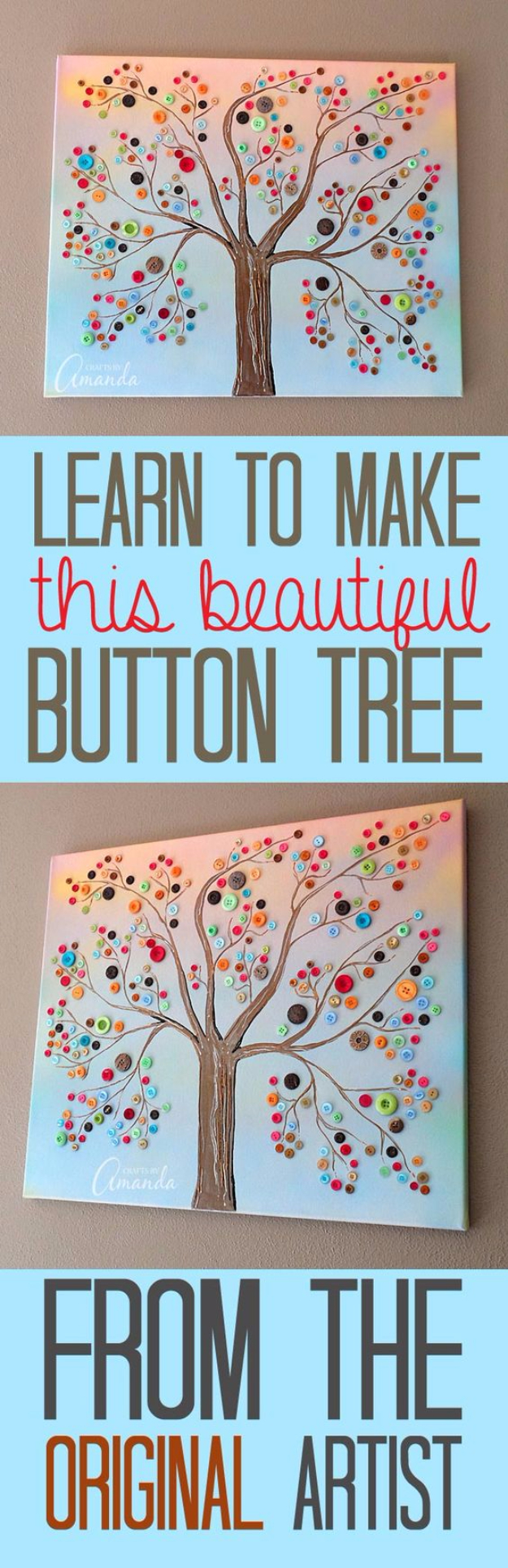 DIY Projects and Crafts Made With Buttons - Vibrant Button Tree On Canvas - Easy and Quick Projects You Can Make With Buttons - Cool and Creative Crafts, Sewing Ideas and Homemade Gifts for Women, Teens, Kids and Friends - Home Decor, Fashion and Cheap, Inexpensive Fun Things to Make on A Budget