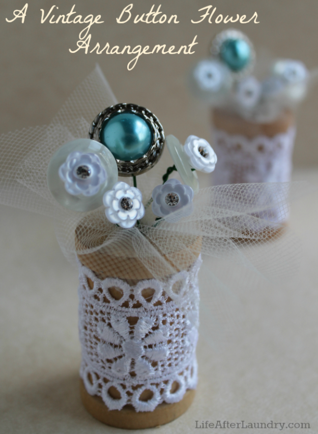 DIY Projects and Crafts Made With Buttons - Vintage Button Flower Arrangement - Easy and Quick Projects You Can Make With Buttons - Cool and Creative Crafts, Sewing Ideas and Homemade Gifts for Women, Teens, Kids and Friends - Home Decor, Fashion and Cheap, Inexpensive Fun Things to Make on A Budget