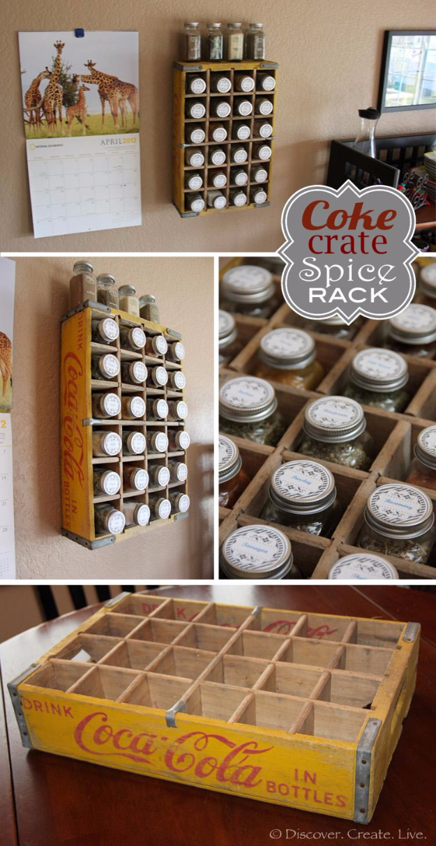 DIY Organizing Ideas for Kitchen - Vintage Coca-Cola Crate Spice Rack - Cheap and Easy Ways to Get Your Kitchen Organized - Dollar Tree Crafts, Space Saving Ideas - Pantry, Spice Rack, Drawers and Shelving - Home Decor Projects for Men and Women #diykitchen #organizing #diyideas #diy