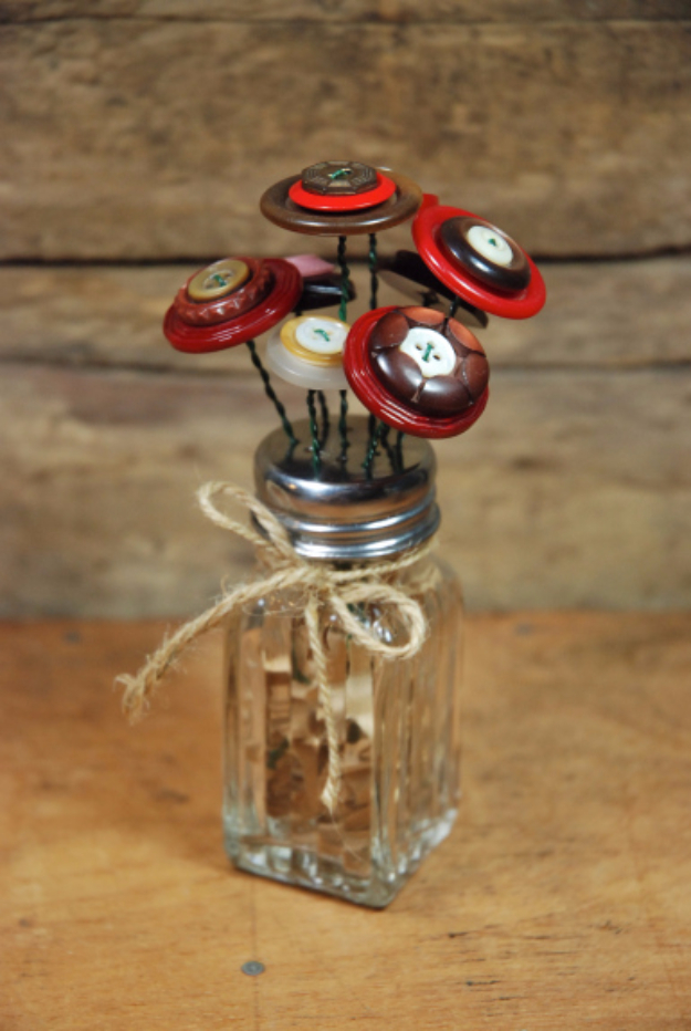 DIY Projects and Crafts Made With Buttons - Vintage Flower Button Bouquet - Easy and Quick Projects You Can Make With Buttons - Cool and Creative Crafts, Sewing Ideas and Homemade Gifts for Women, Teens, Kids and Friends - Home Decor, Fashion and Cheap, Inexpensive Fun Things to Make on A Budget