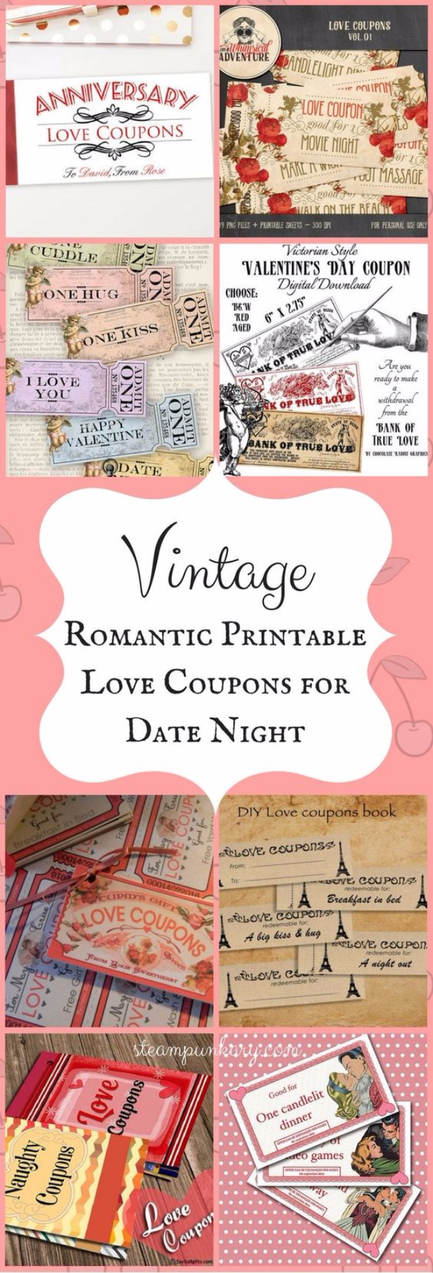DIY Date Night Ideas - Vintage Love Coupons For Date Night - Creative Ways to Go On Inexpensive Dates - Creative Ways for Couples to Spend Time Together creative date nights diy idea