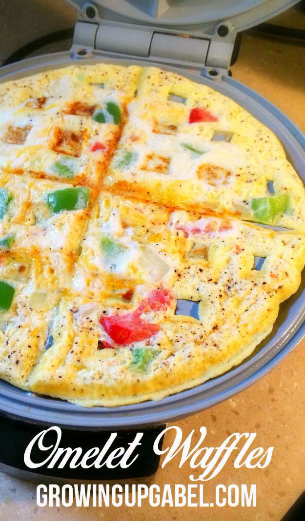 Waffle Iron Hacks and Easy Recipes for Waffle Irons - Waffle Omelet - Quick Ways to Make Healthy Meals in a Waffle Maker - Breakfast, Dinner, Lunch, Dessert and Snack Ideas - Homemade Pizza, Cinnamon Rolls, Egg, Low Carb, Sandwich, Bisquick, Savory Recipes and Biscuits http://diyjoy.com/waffle-iron-hacks-recipes