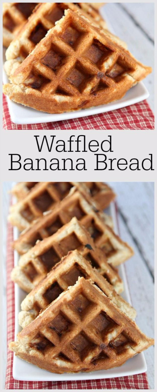Waffle Iron Hacks and Easy Recipes for Waffle Irons - Waffled Banana Bread - Quick Ways to Make Healthy Meals in a Waffle Maker - Breakfast, Dinner, Lunch, Dessert and Snack Ideas - Homemade Pizza, Cinnamon Rolls, Egg, Low Carb, Sandwich, Bisquick, Savory Recipes and Biscuits #diy #waffle #hacks