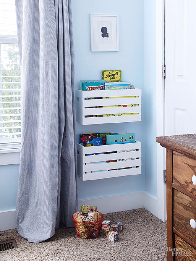 DIY Organizing Ideas For Kids Rooms   Wall Mounted Crate Baskets   Easy  Storage Projects For