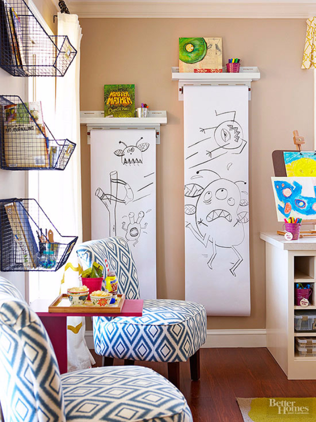 DIY Organizing Ideas for Kids Rooms - Wall Mounted Rollers - Easy Storage Projects for Boy and Girl Room - Step by Step Tutorials to Get Toys, Books, Baby Gear, Games and Clothes Organized #diy #kids #organizing