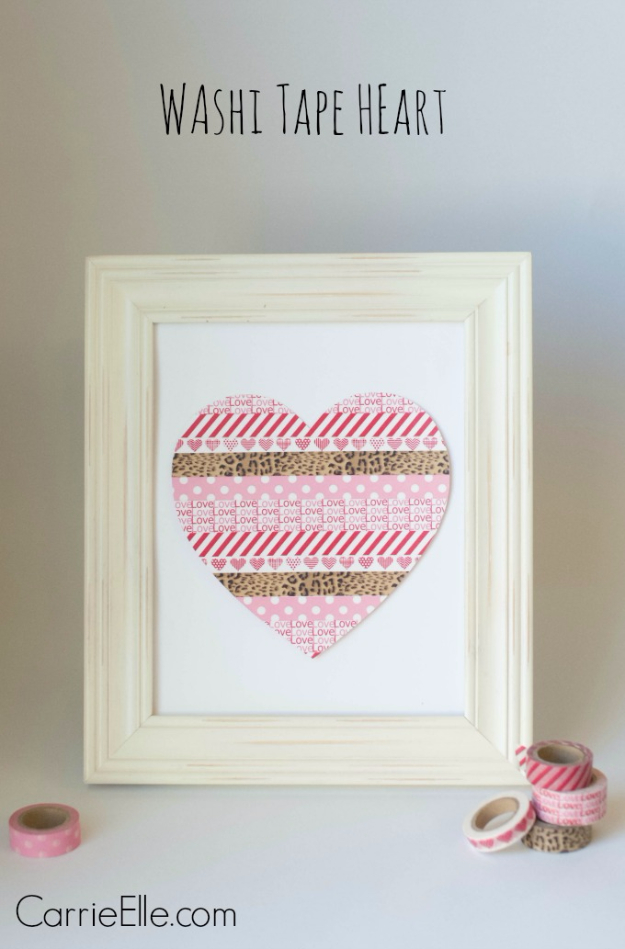 DIY Valentine Decor Ideas - Washi Tape Heart - Cute and Easy Home Decor Projects for Valentines Day Decorating - Best Homemade Valentine Decorations for Home, Tables and Party, Kids and Outdoor - Romantic Vintage Ideas - Cheap Dollar Store and Dollar Tree Crafts