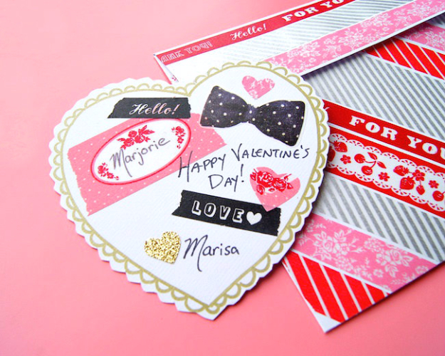 DIY Valentines Day Cards - Washi Tape Valentine's Card - Easy Handmade Cards for Him and Her, Kids, Freinds and Teens - Funny, Romantic, Printable Ideas for Making A Unique Homemade Valentine Card - Step by Step Tutorials and Instructions for Making Cute Valentine's Day Gifts #valentines