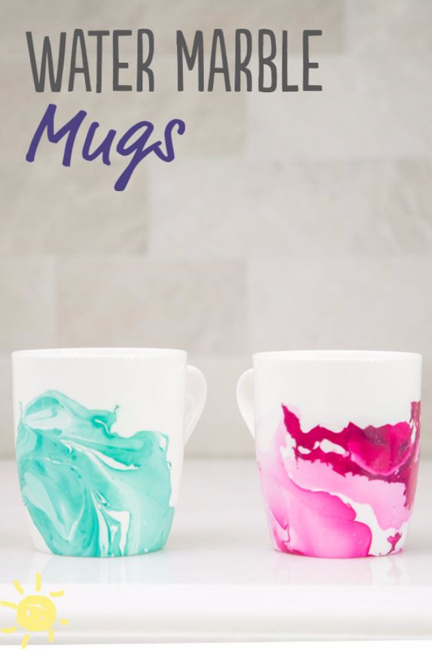 DIY Nail Polish Crafts - Water Marble Mugs - Easy and Cheap Craft Ideas for Girls, Teens, Tweens and Adults | Fun and Cool DIY Projects You Can Make With Fingernail Polish - Do It Yourself Wire Flowers, Glue Gun Craft Projects and Jewelry Made From nailpolish - Water Marble Tutorials and How To With Step by Step Instructions s