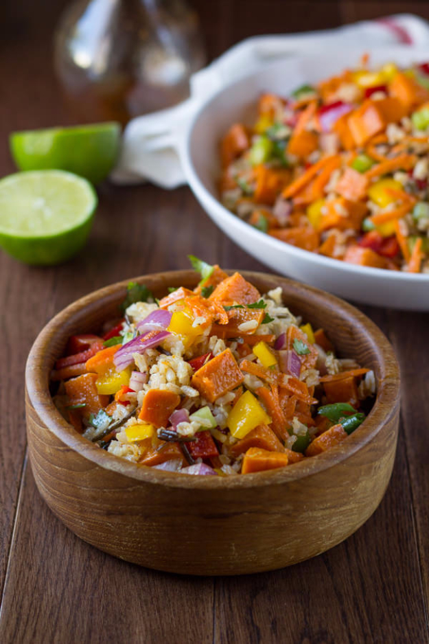 Healthy Lunch Ideas for Work - Wild Rice and Sweet Potato Salad with a Chili Lime Vinaigrette - Quick and Easy Recipes You Can Pack for Lunches at the Office - Lowfat and Simple Ideas for Eating on the Job - Microwave, No Heat, Mason Jar Salads, Sandwiches, Wraps, Soups and Bowls