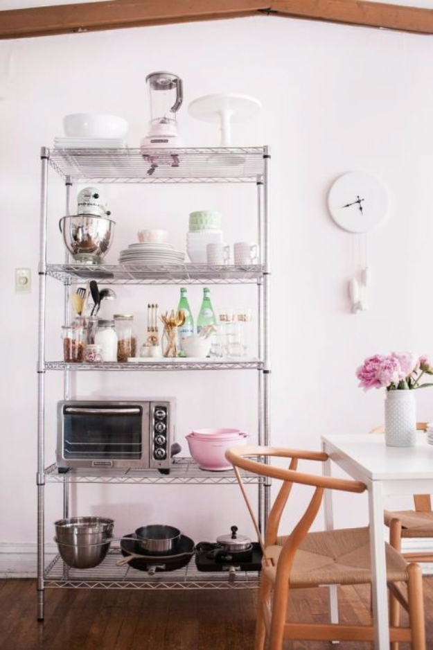 DIY Organizing Ideas for Kitchen - Wire Shelves For A More Open Kitchen - Cheap and Easy Ways to Get Your Kitchen Organized - Dollar Tree Crafts, Space Saving Ideas - Pantry, Spice Rack, Drawers and Shelving - Home Decor Projects for Men and Women http://diyjoy.com/diy-organizing-ideas-kitchen