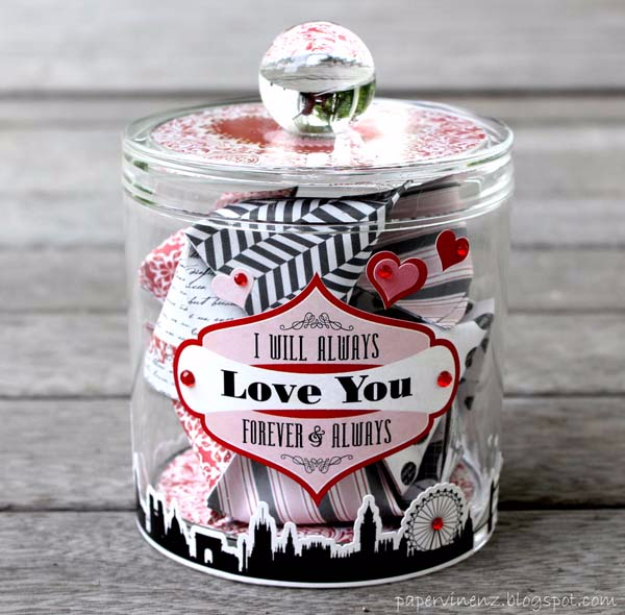 Best DIY Valentines Day Gifts - Wishlist Jar - Cute Mason Jar Valentines Day Gifts and Crafts for Him and Her | Boyfriend, Girlfriend, Mom and Dad, Husband or Wife, Friends - Easy DIY Ideas for Valentines Day for Homemade Gift Giving and Room Decor | Creative Home Decor and Craft Projects for Teens, Teenagers, Kids and Adults