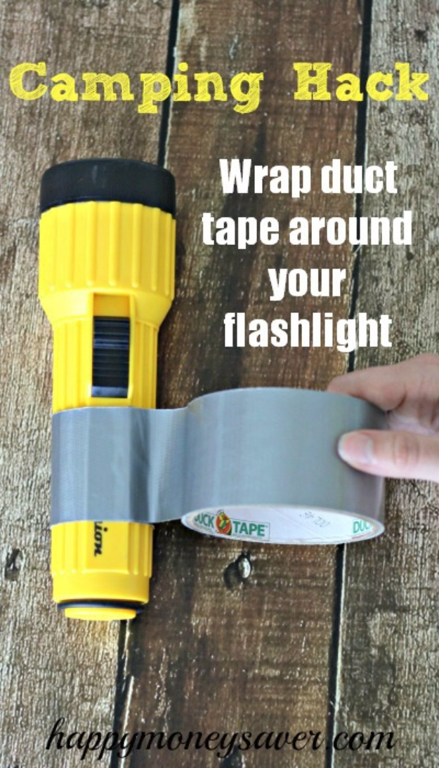 DIY Camping Hacks - Wrap Duct Tape Around Your Flashlight - Easy Tips and Tricks, Recipes for Camping - Gear Ideas, Cheap Camping Supplies, Tutorials for Making Quick Camping Food, Fire Starters, Gear Holders #diy #camping