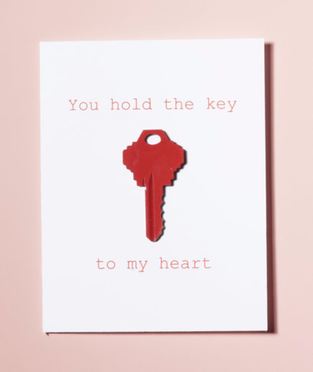 DIY Valentines Day Cards - You Hold The Key To My Heart - Easy Handmade Cards for Him and Her, Kids, Freinds and Teens - Funny, Romantic, Printable Ideas for Making A Unique Homemade Valentine Card - Step by Step Tutorials and Instructions for Making Cute Valentine's Day Gifts #valentines