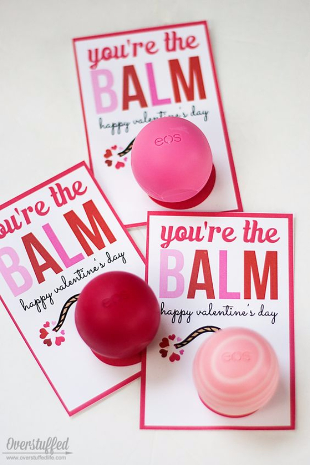 DIY Valentines Day Cards - You're the Balm Valentine Card - Easy Handmade Cards for Him and Her, Kids, Freinds and Teens - Funny, Romantic, Printable Ideas for Making A Unique Homemade Valentine Card - Step by Step Tutorials and Instructions for Making Cute Valentine's Day Gifts #valentines