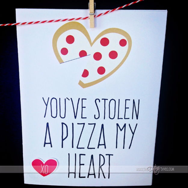 DIY Valentines Day Cards - You've Stolen A Pizza My Heart - Easy Handmade Cards for Him and Her, Kids, Freinds and Teens - Funny, Romantic, Printable Ideas for Making A Unique Homemade Valentine Card - Step by Step Tutorials and Instructions for Making Cute Valentine's Day Gifts #valentines