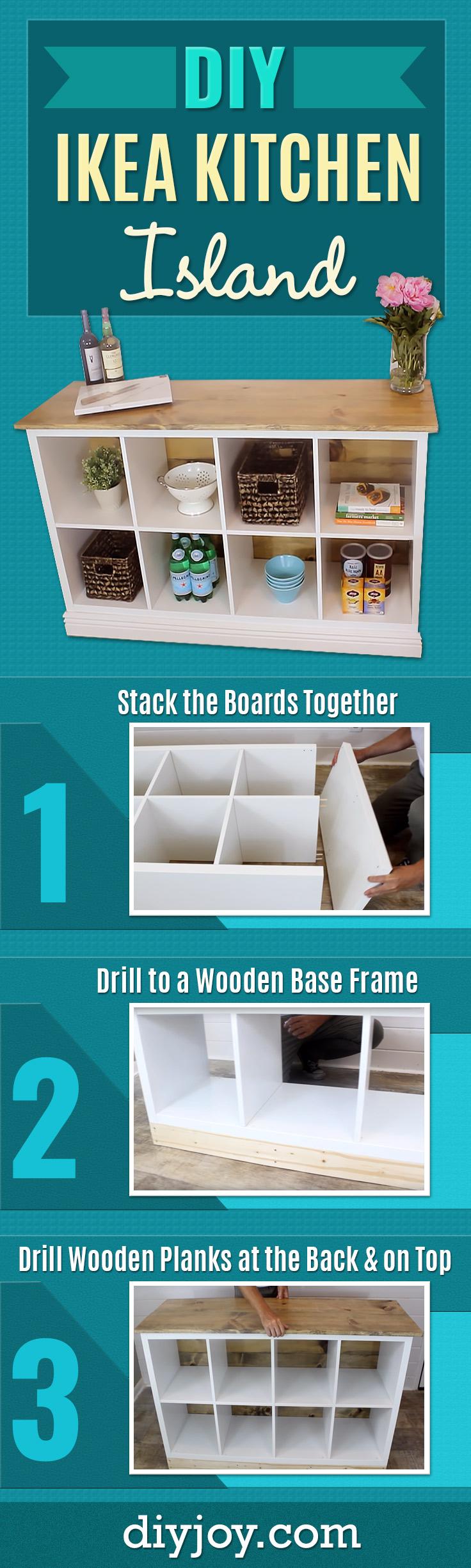 DIY Kitchen Island - IKEA Hacks for Kitchens - Cheap Home Decor Idea - Inexpensive Furniture Ideas To Make