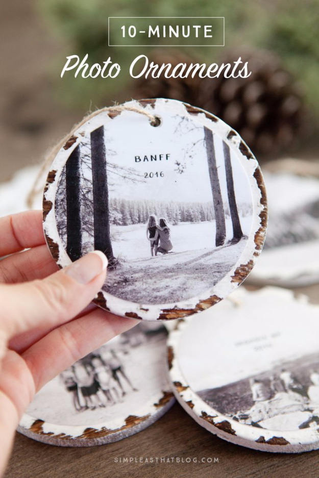 DIY Photo Crafts and Projects for Pictures - 10 Minute Photo Ornaments - Handmade Picture Frame Ideas and Step by Step Tutorials for Making Cool DIY Gifts and Home Decor - Cheap and Easy Photo Frames, Creative Ways to Frame and Mount Photos on Canvas and Display Them In Your House http://diyjoy.com/handmade-photo-crafts