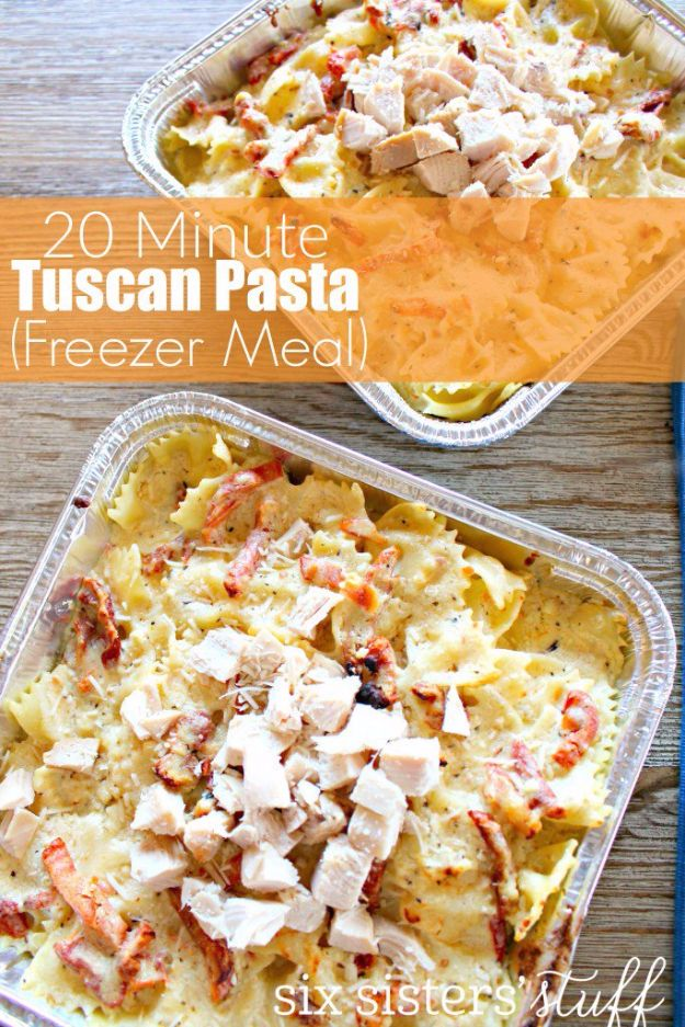 Healthy Crockpot Recipes to Make and Freeze Ahead - 20 Minute Tuscan Pasta - Easy and Quick Dinners, Soups, Sides You Make Put In The Freezer for Simple Last Minute Cooking - Low Fat Chicken, beef stew recipe