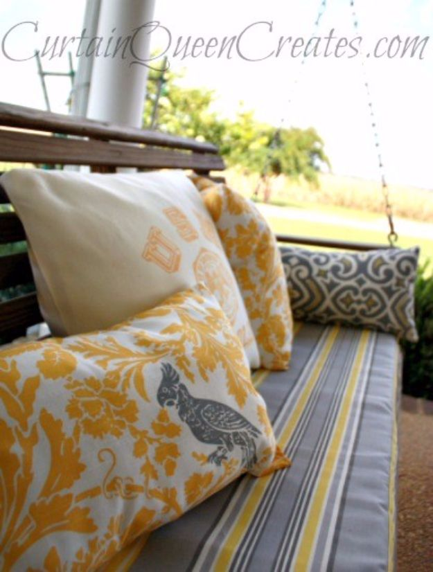 Sewing Projects for The Patio - 3-Step DIY Bench or Swing Cushion - Step by Step Instructions and Free Patterns for Cushions, Pillows, Seating, Sofa and Outdoor Patio Decor - Easy Sewing Tutorials for Beginners - Creative and Cheap Outdoor Ideas for Those Who Love to Sew - DIY Projects and Crafts by DIY JOY #diydecor #diyhomedecor #sewing