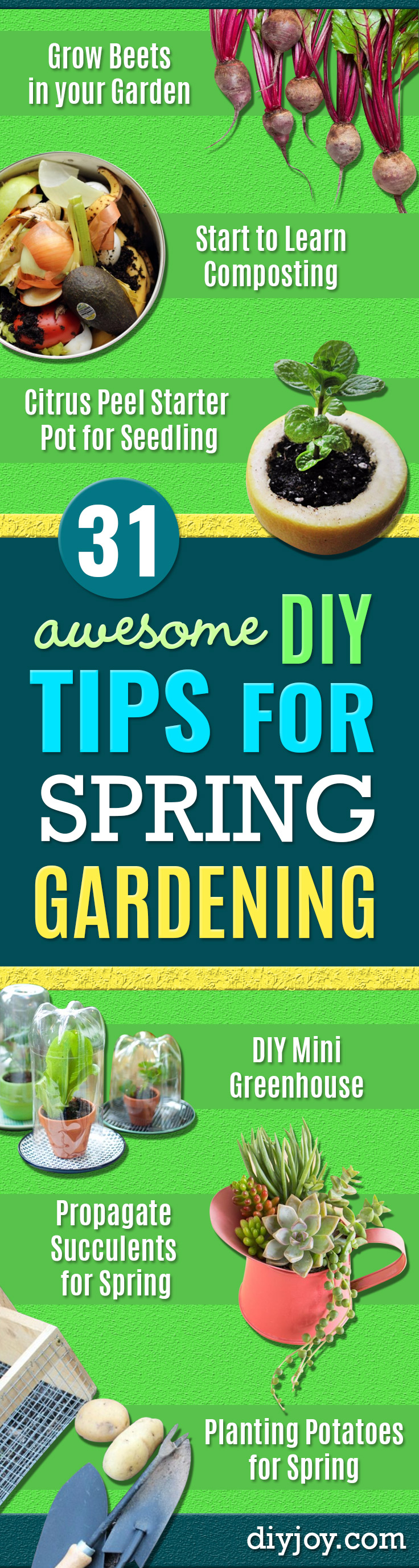 DIY Spring Gardening Projects - Cool and Easy Planting Tips for Spring Garden - Step by Step Tutorials for Growing Seeds, Plants, Vegetables and Flowers in You Yard - DIY Project Ideas for Women and Men - Creative and Quick Backyard Ideas For Summer http://diyjoy.com/diy-spring-gardening