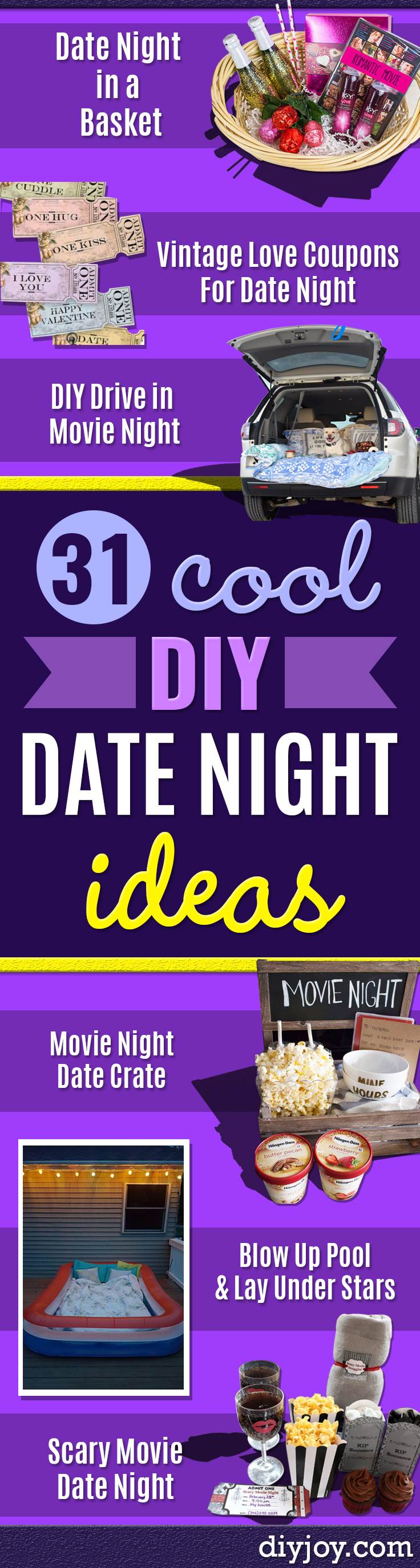 DIY Date Night Ideas - Creative Ways to Go On Inexpensive Dates - Creative Ways for Couples to Spend Time Together - Cute Kits and Cool DIY Gift Ideas for Men and Women - Cheap Ways to Have Fun With Your Husbnad or Wife, Girlfriend or Boyfriend - Valentines Day Date Ideas http://diyjoy.com/diy-date-night-ideas