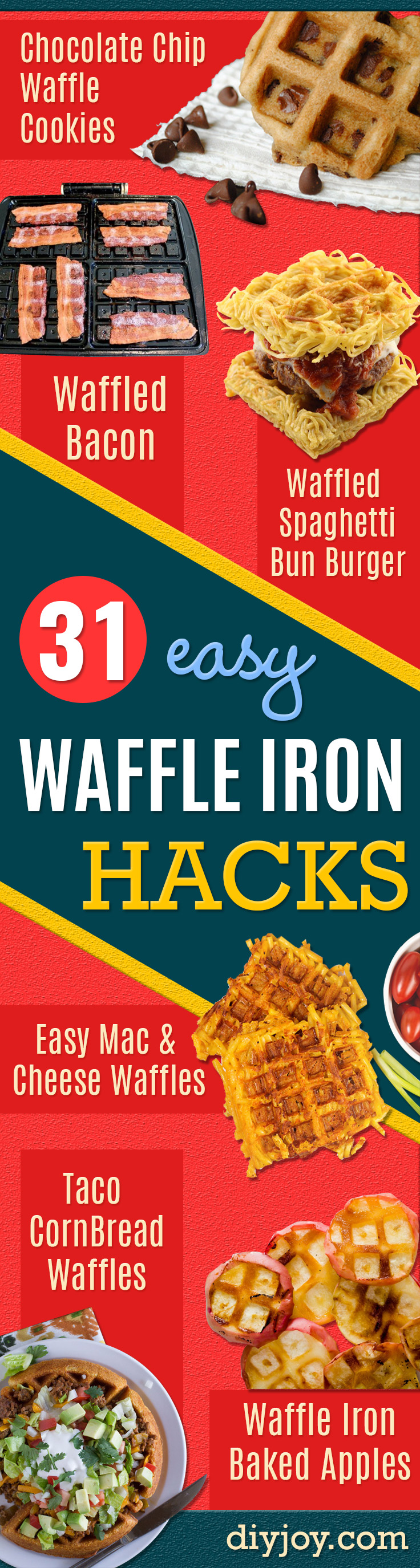 Waffle Iron Hacks and Easy Recipes for Waffle Irons - Quick Ways to Make Healthy Meals in a Waffle Maker - Breakfast, Dinner, Lunch, Dessert and Snack Ideas - Homemade Pizza, Cinnamon Rolls, Egg, Low Carb, Sandwich, Bisquick, Savory Recipes and Biscuits