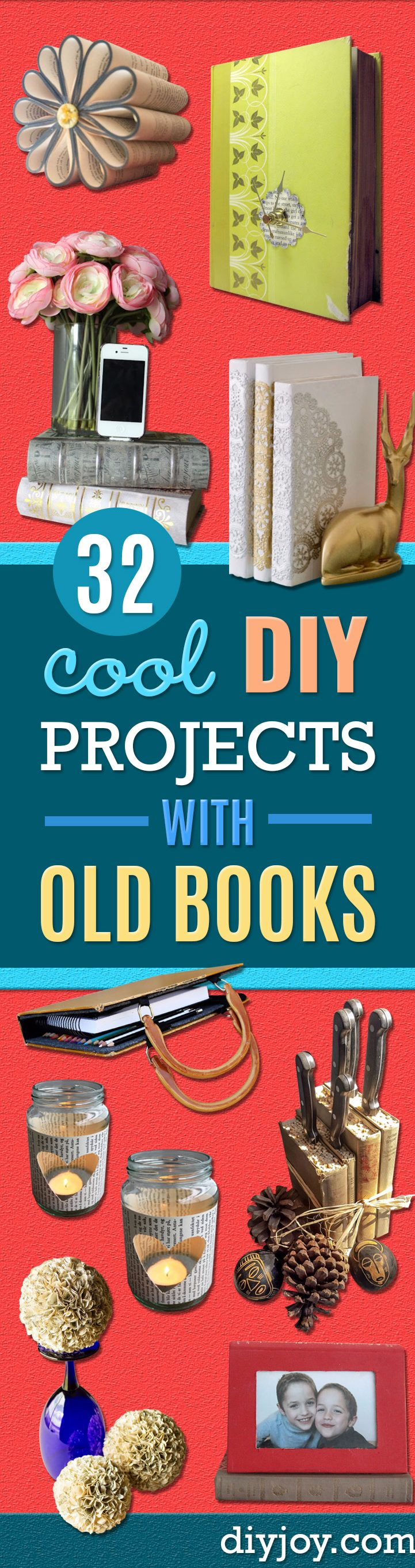 DIY Projects Made With Old Books - Make DIY Gifts, Crafts and Home Decor With Old Book Pages and Hardcover and Paperbacks - Easy Shelving, Decorations, Wall Art and Centerpices with BOOKS