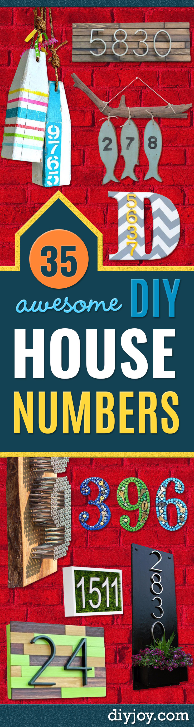 DIY House Numbers - DIY Numbers To Put In   Front Yard and At Front Door - Architectural Numbers and   Creative Do It Yourself Projects for Making House Numbers - Easy   Step by Step Tutorials and Project Ideas for Home Improvement on   A Budget http://diyjoy.com/diy-house-numbers