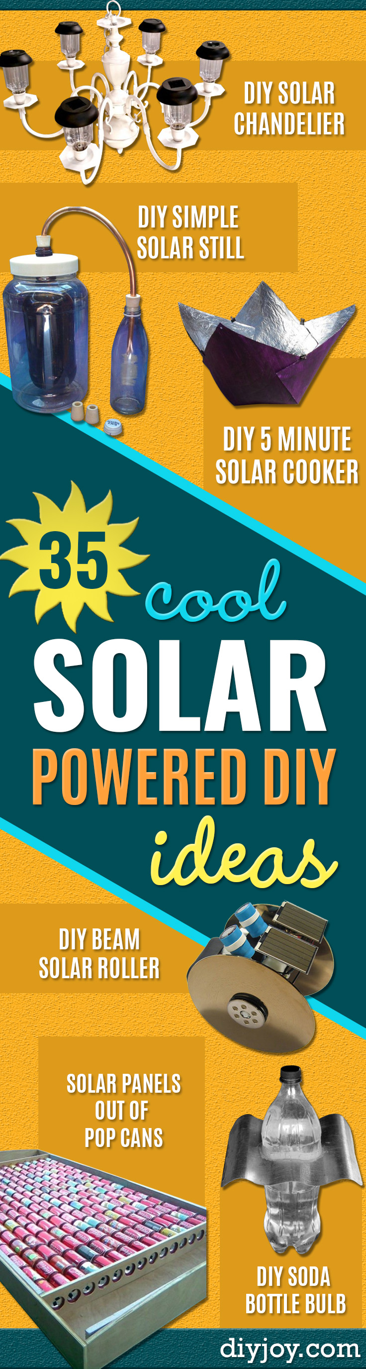 DIY Solar Powered Projects - Easy Solar Crafts and DYI Ideas for Making Solar Power Things You Can Use To Save Energy - Step by Step Tutorials for Making Things Without Batteries - DIY Projects and Crafts for Men and Women http://diyjoy.com/diy-solar-power-projects