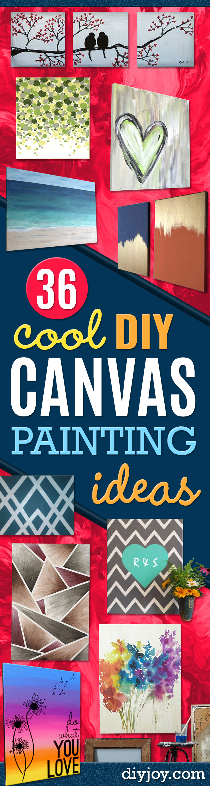diy art ideas - DIY Canvas Painting Ideas - Cool and Easy Wall Art Ideas You Can Make On A Budget -Paint Canvas for Room Decor on a Budget - Simple Painting Tutorial for Homemade Artwork #painting #diyart #diygifts