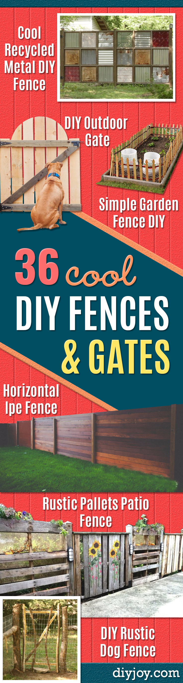 DIY Fences and Gates - How To Make Easy Fence and Gate Project for Backyard and Home - Step by Step Tutorial and Ideas for Painting, Updating and Making Fences and DIY Gate - Cool Outdoors and Yard Projects http://diyjoy.com/diy-fences- gates
