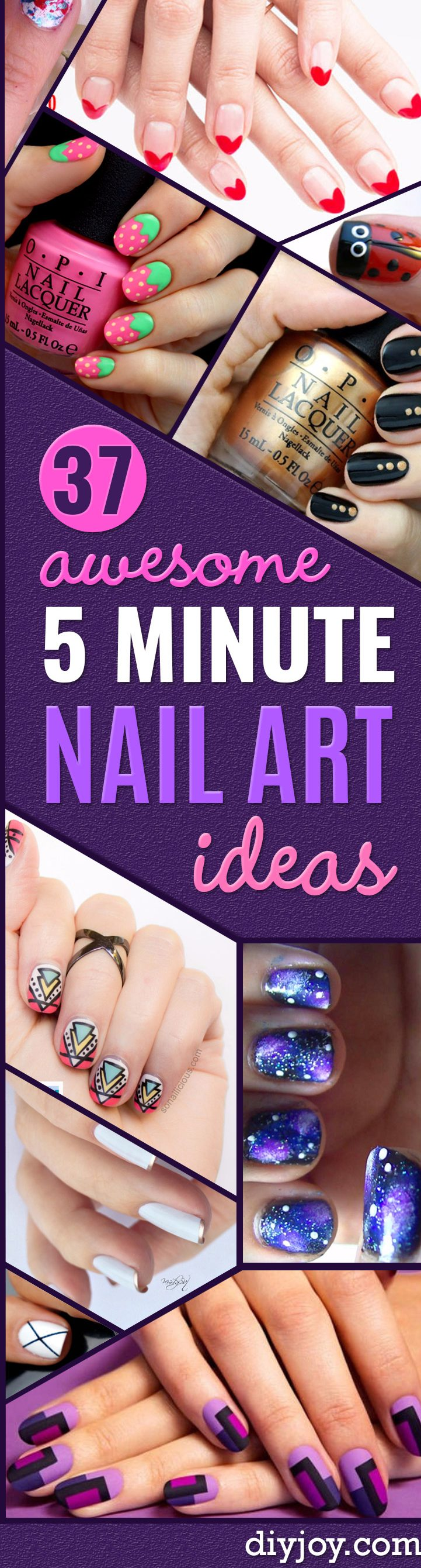 Quick Nail Art Ideas - Easy Step by Step Nail Designs With Tutorials and Instructions - Simple Photos Show You How To Get A Perfect Manicure at Home - Cool Beauty Tips and Tricks for Women and Teens