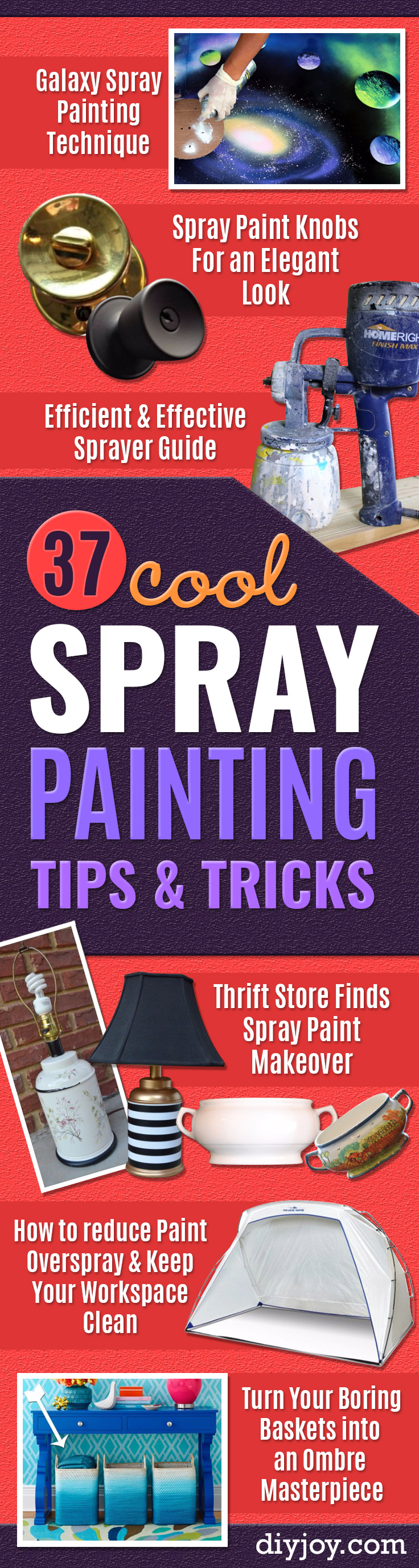 Spray Painting Tips and Tricks - Home Improvement Ideas and Tutorials for Spray Painting Furniture, House, Doors, Trim, Windows and Walls - Step by Step Tutorials and Best How To Instructions - DIY Projects and Crafts by DIY JOY http://diyjoy.com/spray-painting-tips-tricks