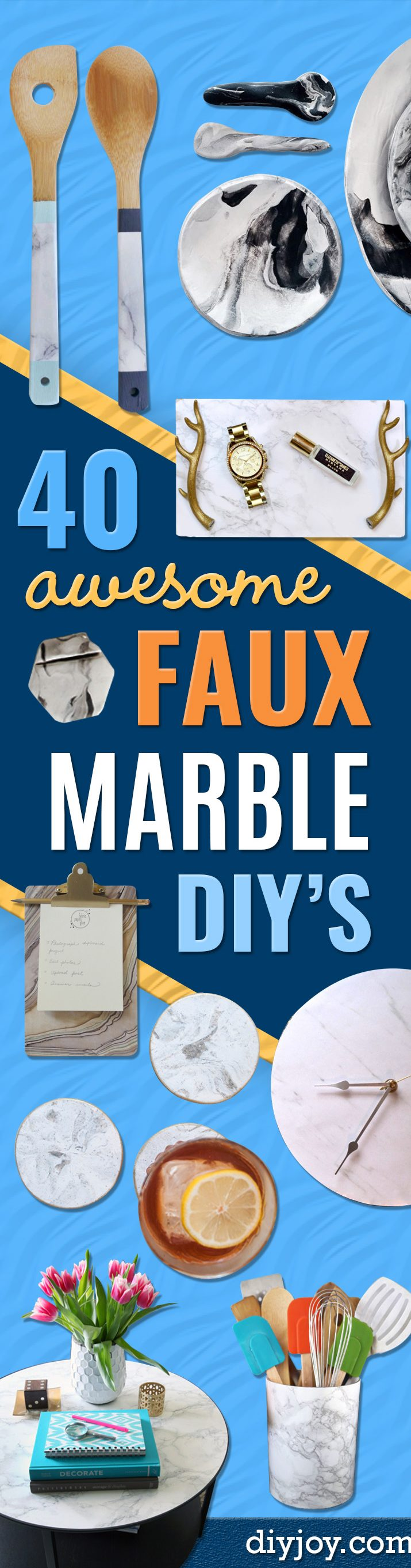DIY Faux Marble Ideas - Easy Crafts and DIY Projects With Faux Marbling Tutorials - Paint and Decorate Home Decor, Creative DIY Gifts and Office Accessories